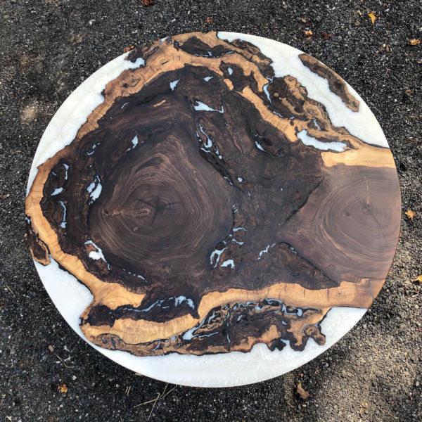 """black walnut burl 48"""" table"""